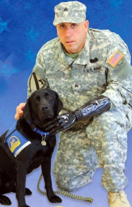 Army officer with a service dog