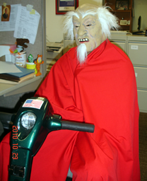 Wheelchair user dressed up for Halloween