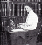 Hellen Keller at work in her study